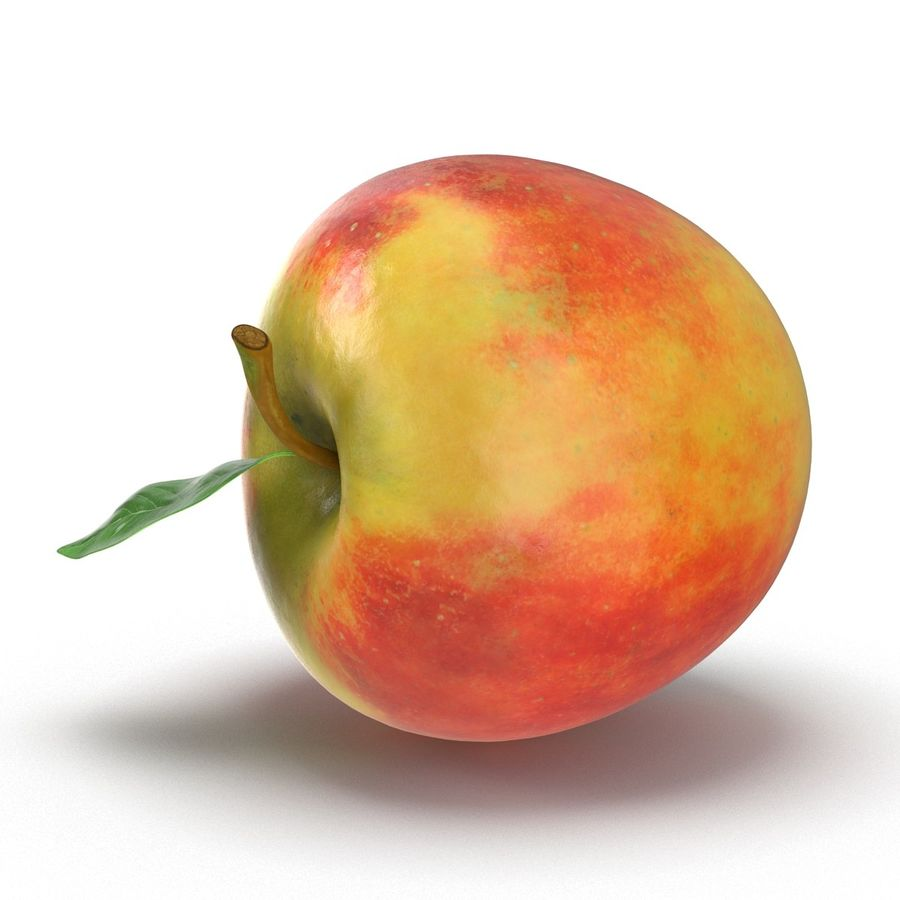Apple Fruit With Green Leaf royalty-free 3d model - Preview no. 15