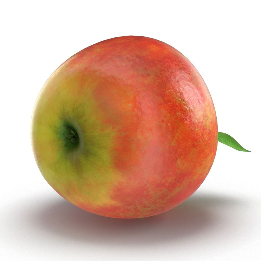 Apple Fruit With Green Leaf royalty-free 3d model - Preview no. 16