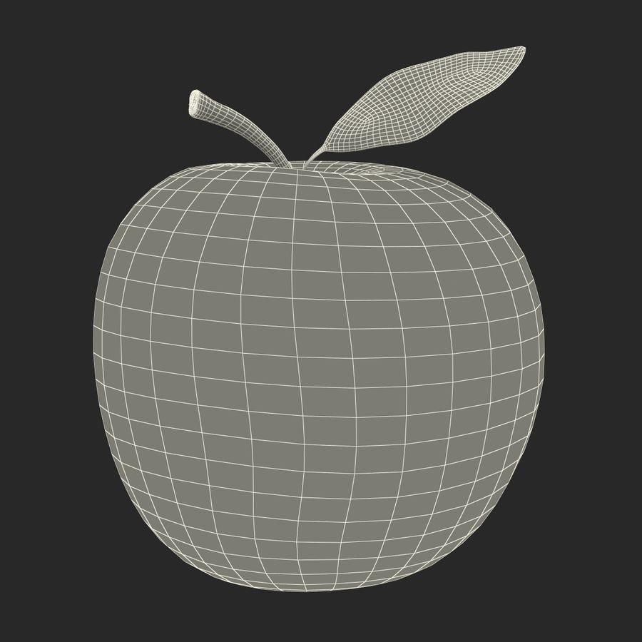 Apple Fruit With Green Leaf royalty-free 3d model - Preview no. 22