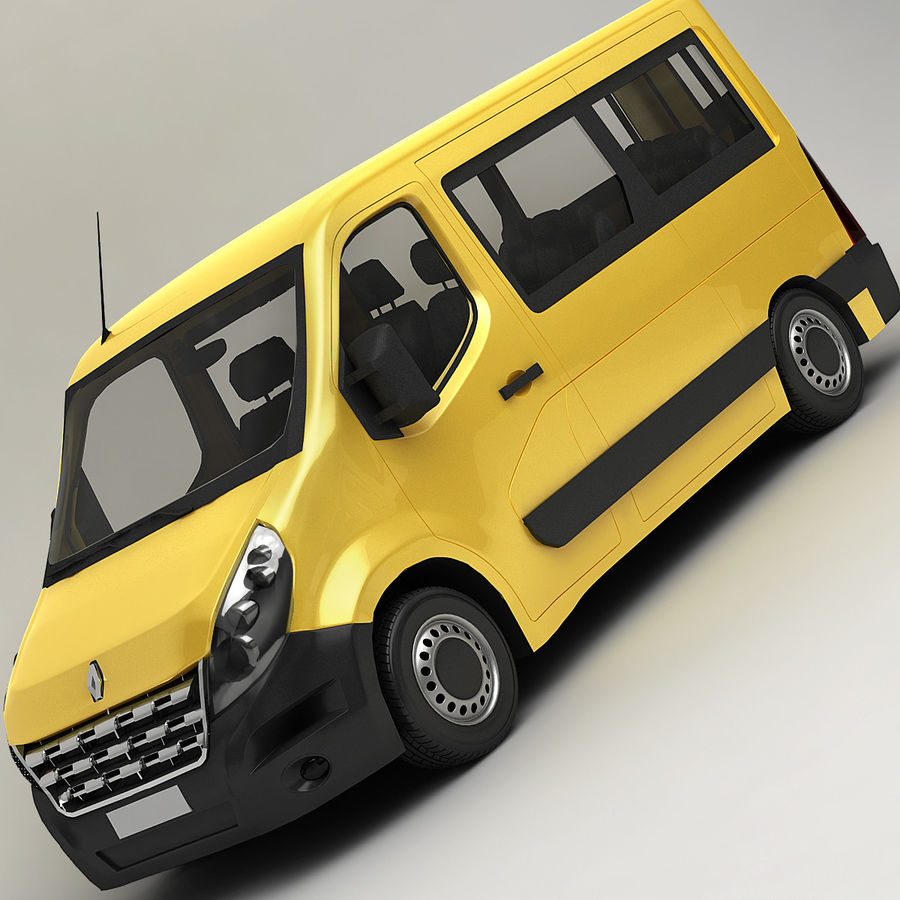 Renault Master Minibus 2015 royalty-free 3d model - Preview no. 2