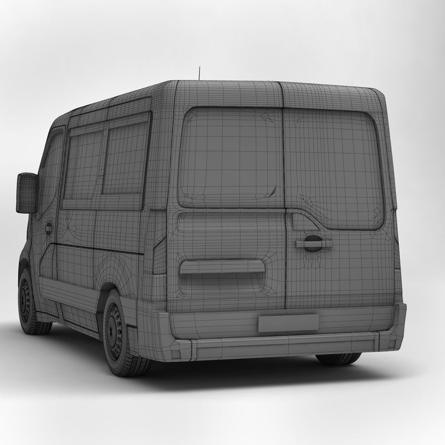 Renault Master Minibus 2015 royalty-free 3d model - Preview no. 6