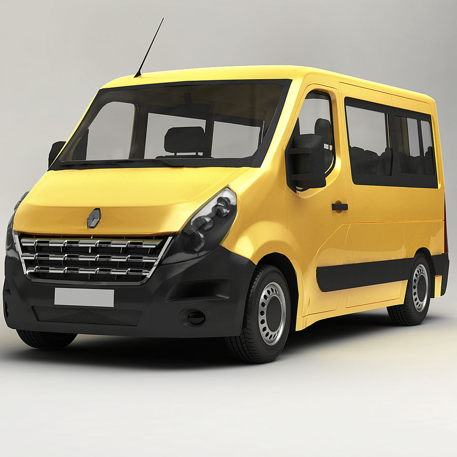 Renault Master Minibus 2015 royalty-free 3d model - Preview no. 1