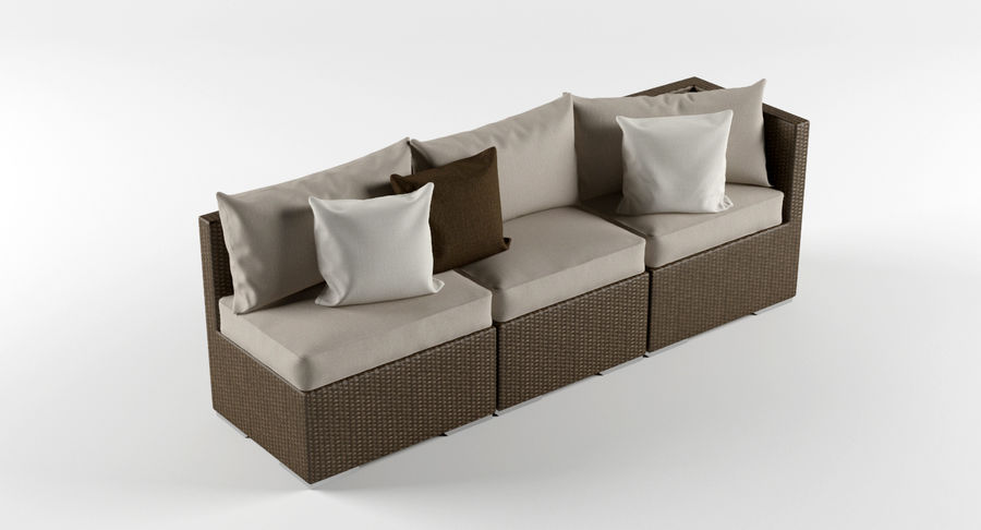 Rattan Lounge Outdoor Furniture royalty-free 3d model - Preview no. 2