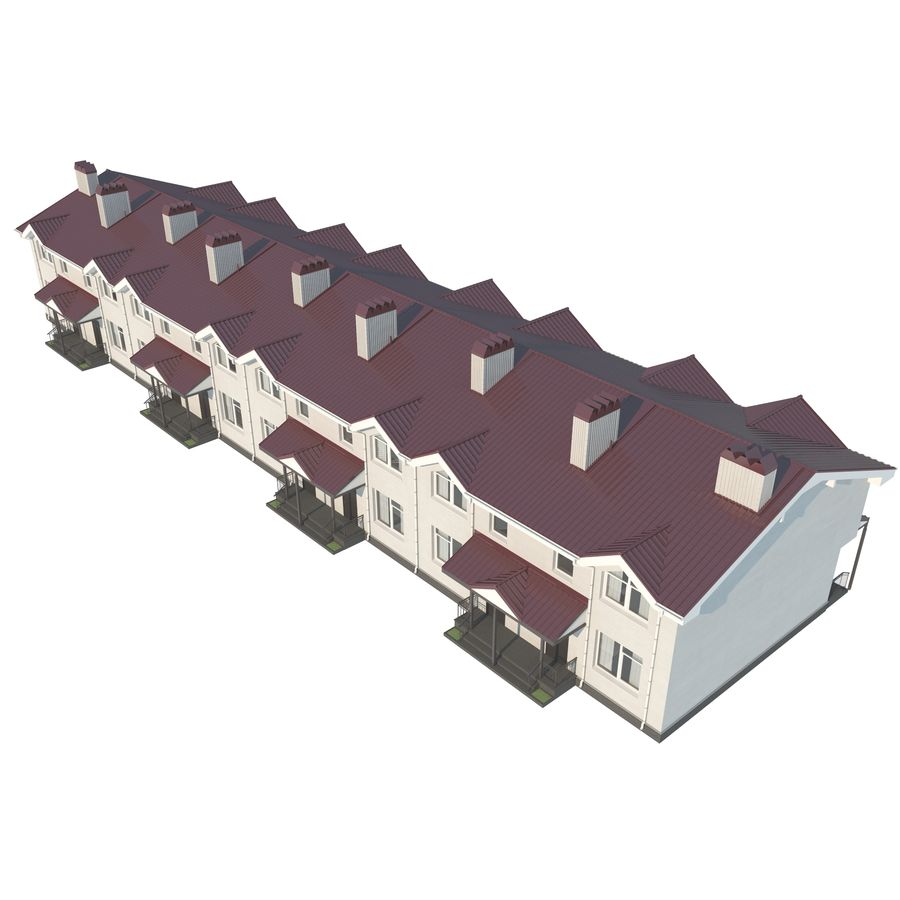 Townhouse royalty-free 3d model - Preview no. 4