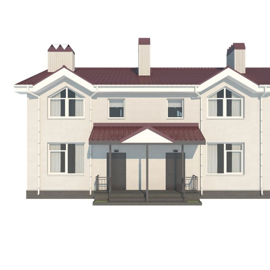 Townhouse royalty-free 3d model - Preview no. 3