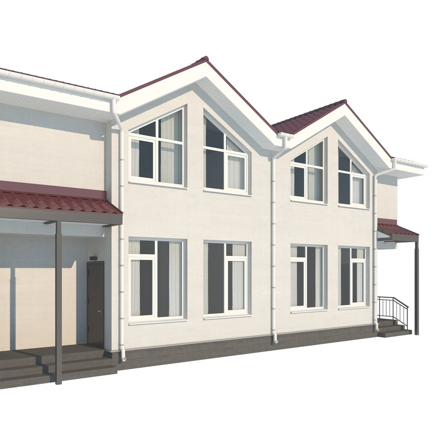 Townhouse royalty-free 3d model - Preview no. 6