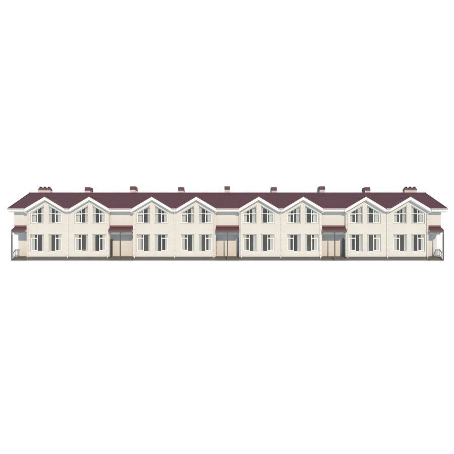 Townhouse royalty-free 3d model - Preview no. 5