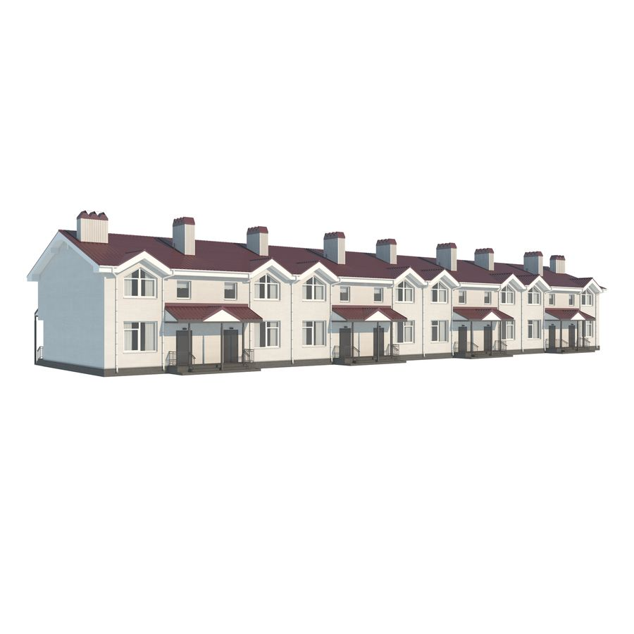 Townhouse royalty-free 3d model - Preview no. 2