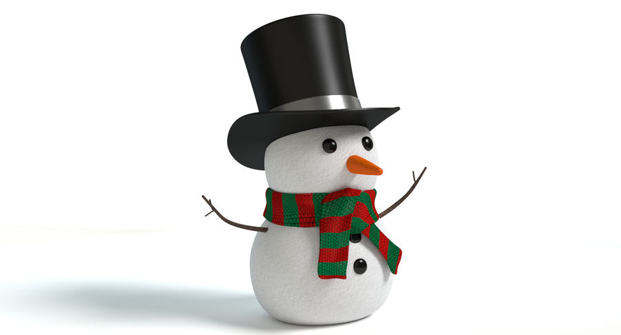 Snowman 2 royalty-free 3d model - Preview no. 4