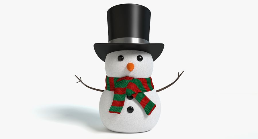 Snowman 2 royalty-free 3d model - Preview no. 2