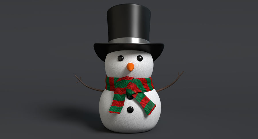 Snowman 2 royalty-free 3d model - Preview no. 3