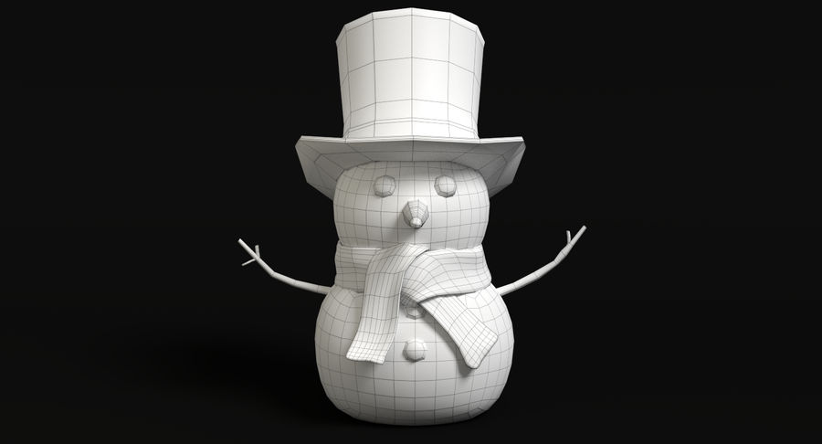 Snowman 2 royalty-free 3d model - Preview no. 8