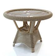 Rattan bord runt 3d model
