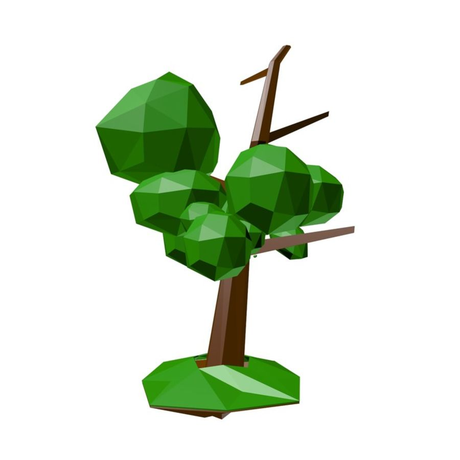Low poly tree royalty-free 3d model - Preview no. 6