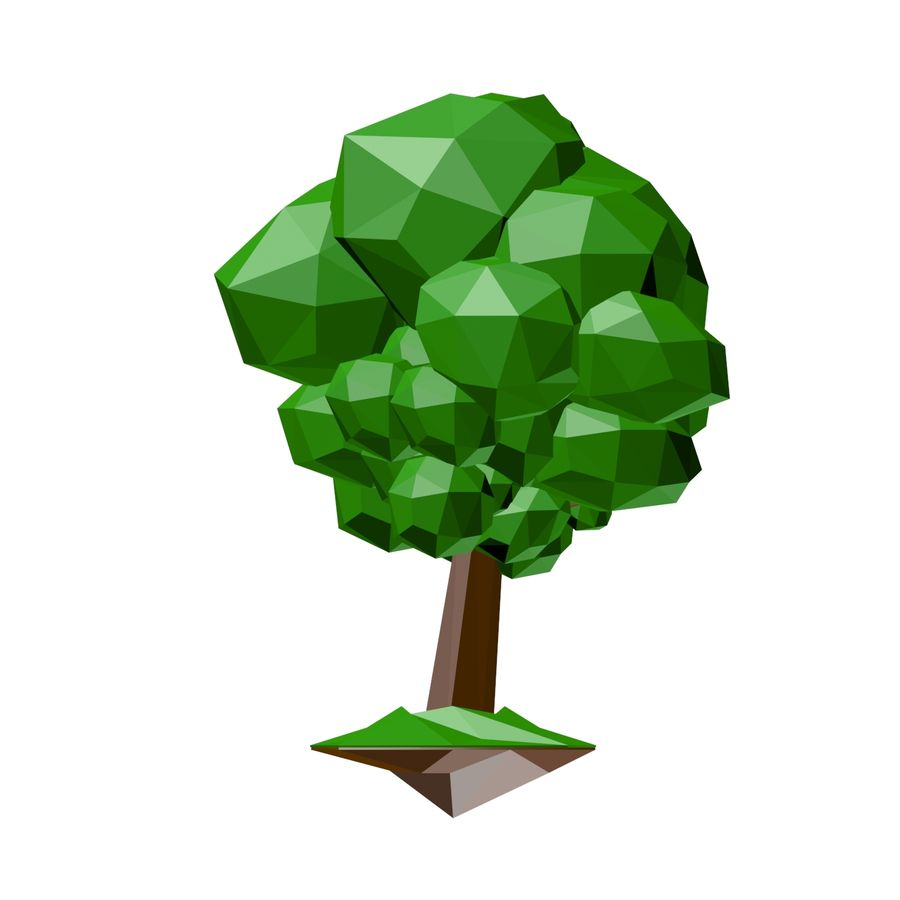 Low poly tree royalty-free 3d model - Preview no. 1