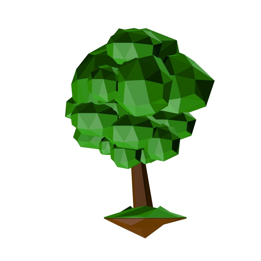 Low poly tree royalty-free 3d model - Preview no. 3