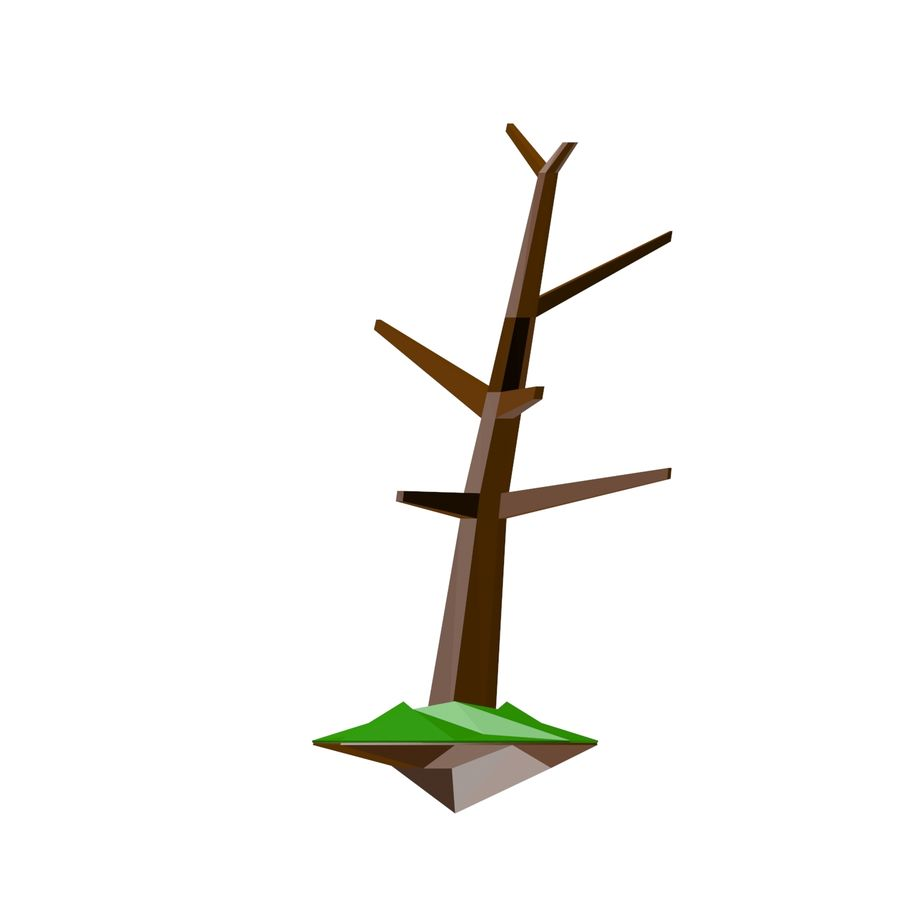 Low poly tree royalty-free 3d model - Preview no. 5