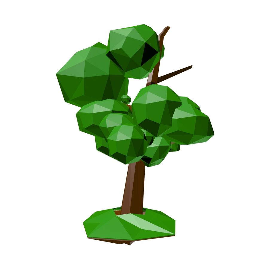 Low poly tree royalty-free 3d model - Preview no. 7
