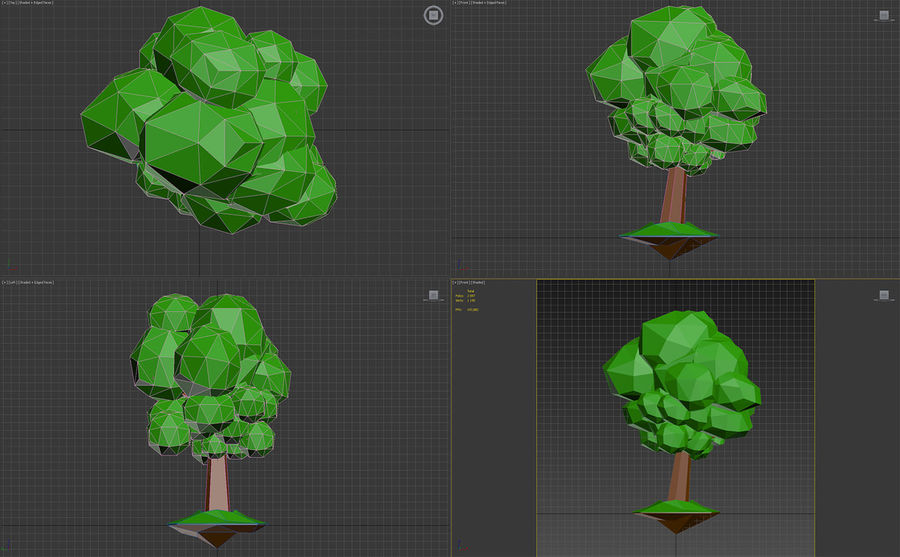 Low poly tree royalty-free 3d model - Preview no. 8