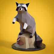 Low poly Racoon figurine 3d model