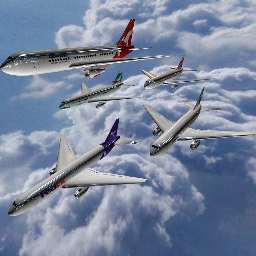 Boeing 767 airplane royalty-free 3d model - Preview no. 3