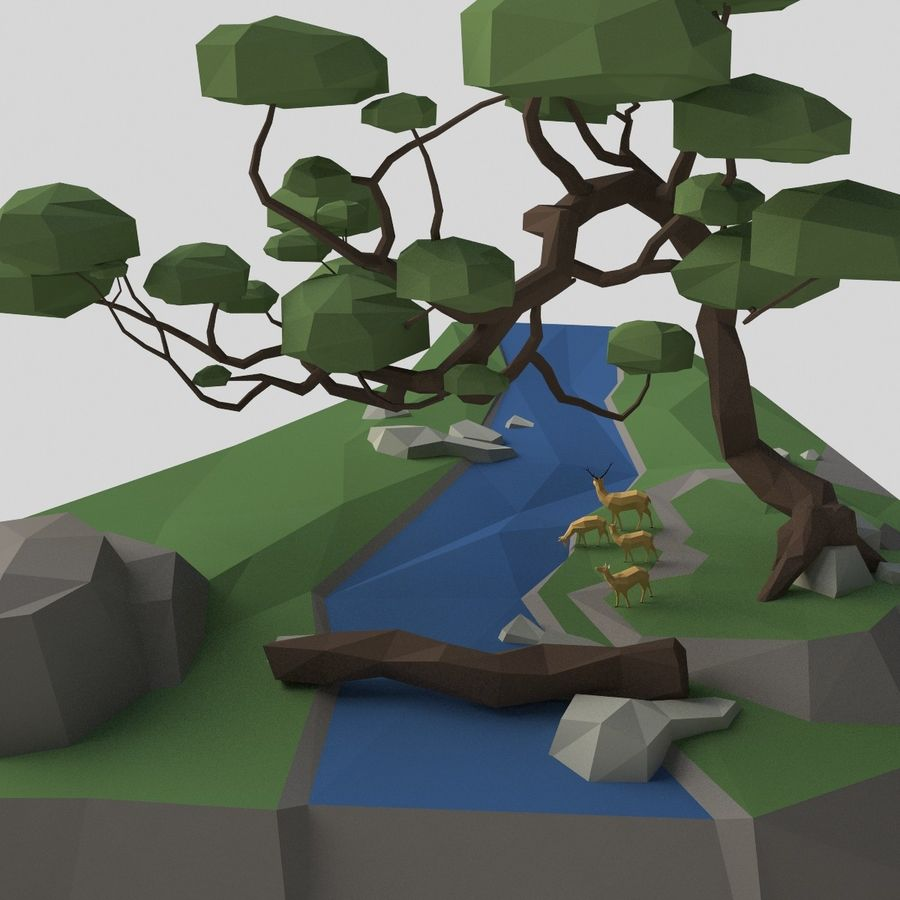 Şelale lowpoly ile dağ royalty-free 3d model - Preview no. 8