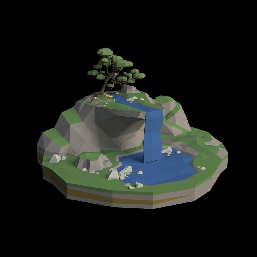 Şelale lowpoly ile dağ royalty-free 3d model - Preview no. 6