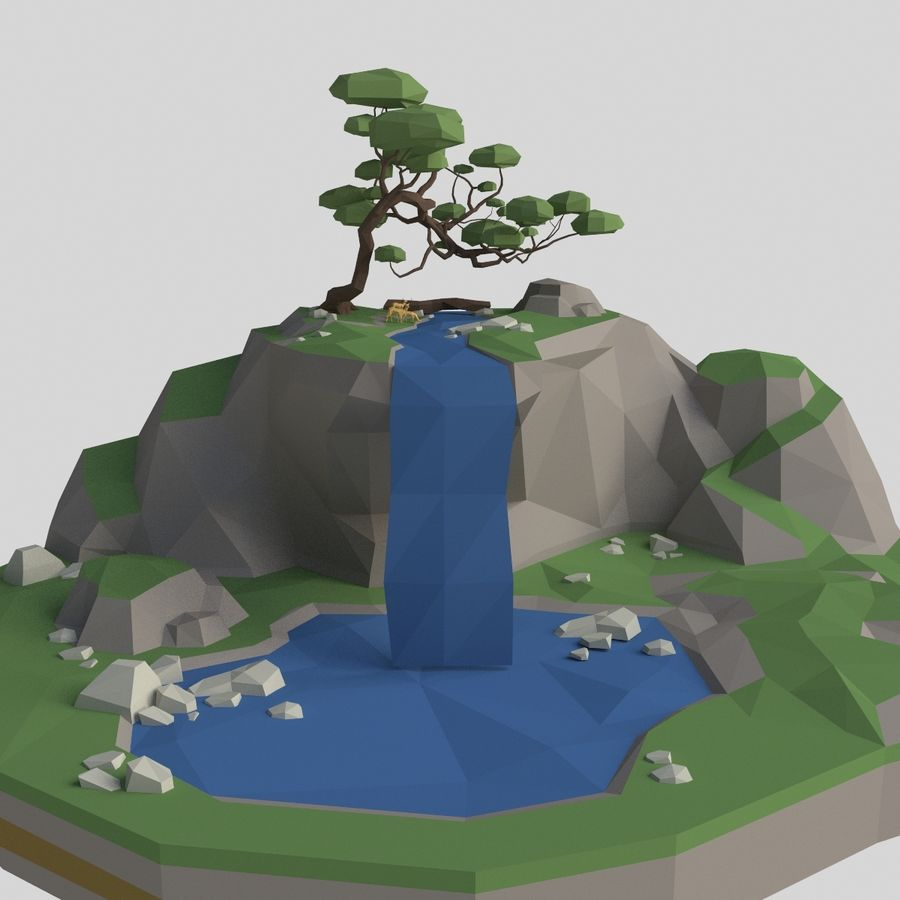 Şelale lowpoly ile dağ royalty-free 3d model - Preview no. 1