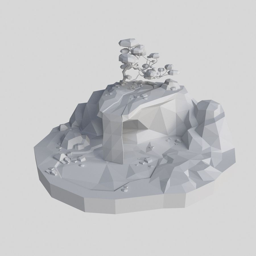 Şelale lowpoly ile dağ royalty-free 3d model - Preview no. 12
