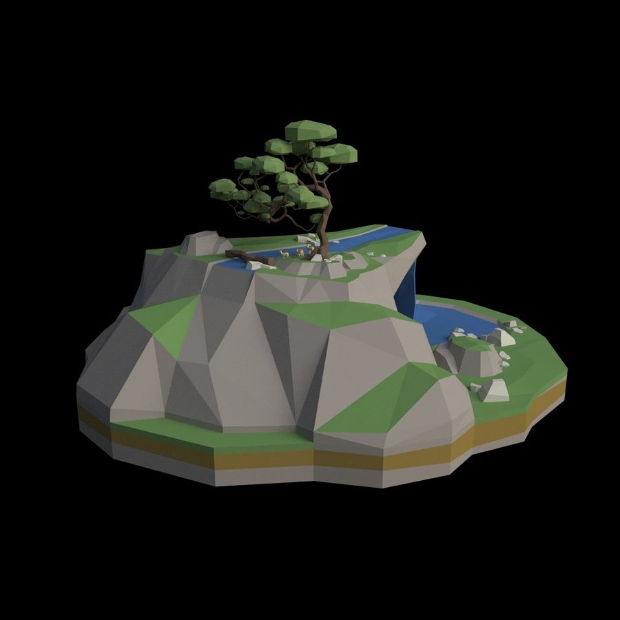 Şelale lowpoly ile dağ royalty-free 3d model - Preview no. 9