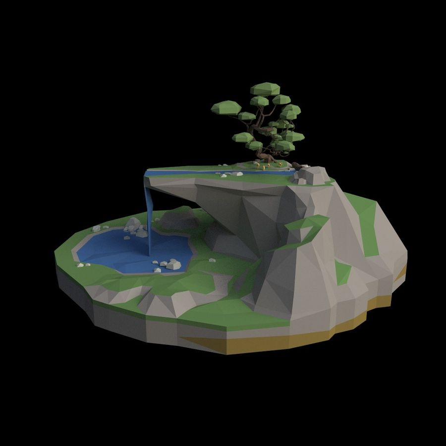 Şelale lowpoly ile dağ royalty-free 3d model - Preview no. 5