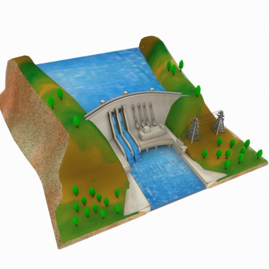 Cartoon Dam royalty-free 3d model - Preview no. 3