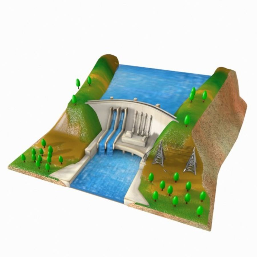 Cartoon Dam royalty-free 3d model - Preview no. 8