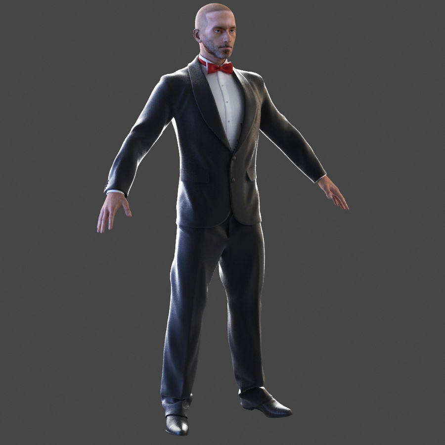 Tuxedo man royalty-free 3d model - Preview no. 1