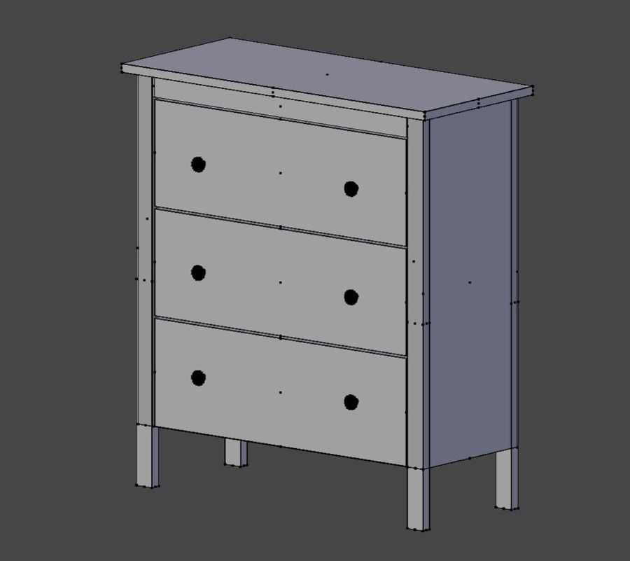Chest of Drawers Ikea royalty-free 3d model - Preview no. 8