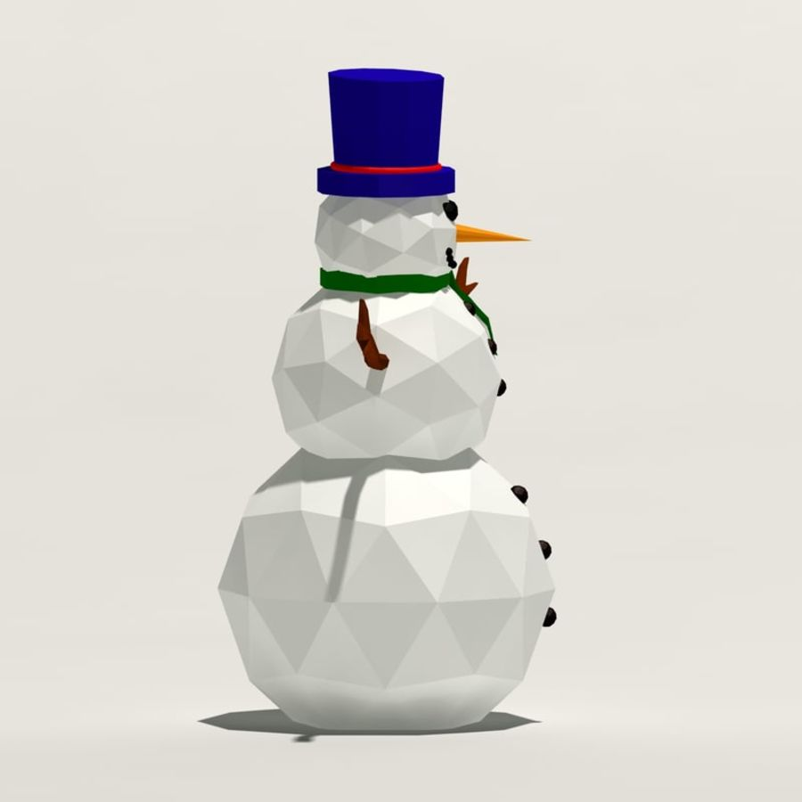 Cartoon low poly snowman royalty-free 3d model - Preview no. 3