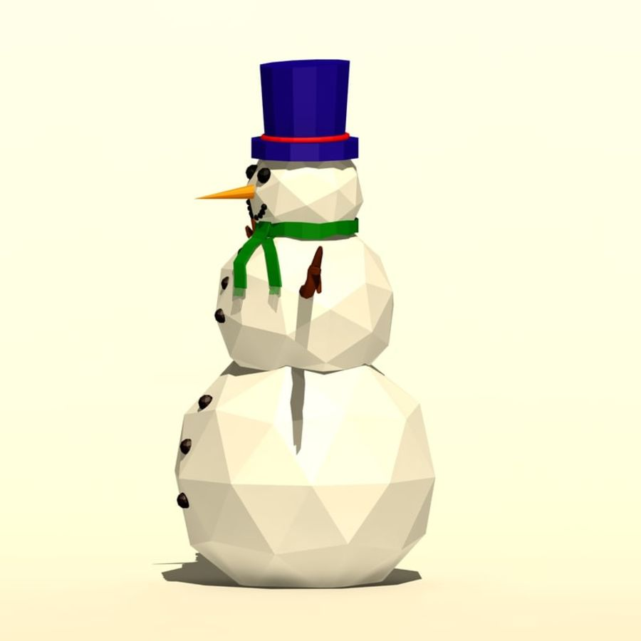 Cartoon low poly snowman royalty-free 3d model - Preview no. 6