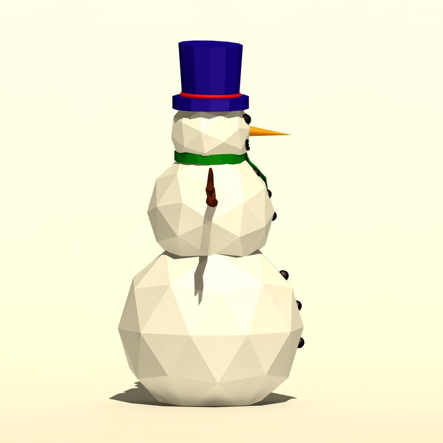Cartoon low poly snowman royalty-free 3d model - Preview no. 5