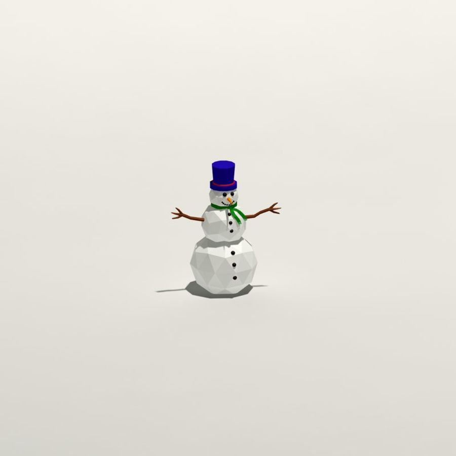 Cartoon low poly snowman royalty-free 3d model - Preview no. 8