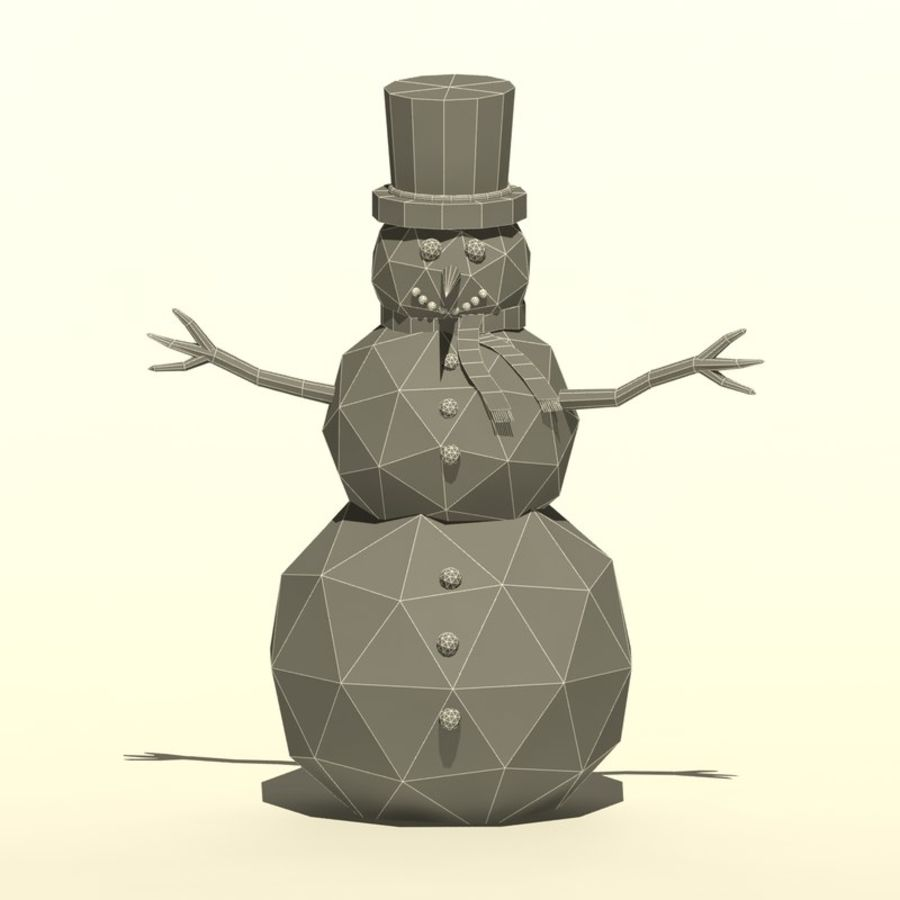 Cartoon low poly snowman royalty-free 3d model - Preview no. 9
