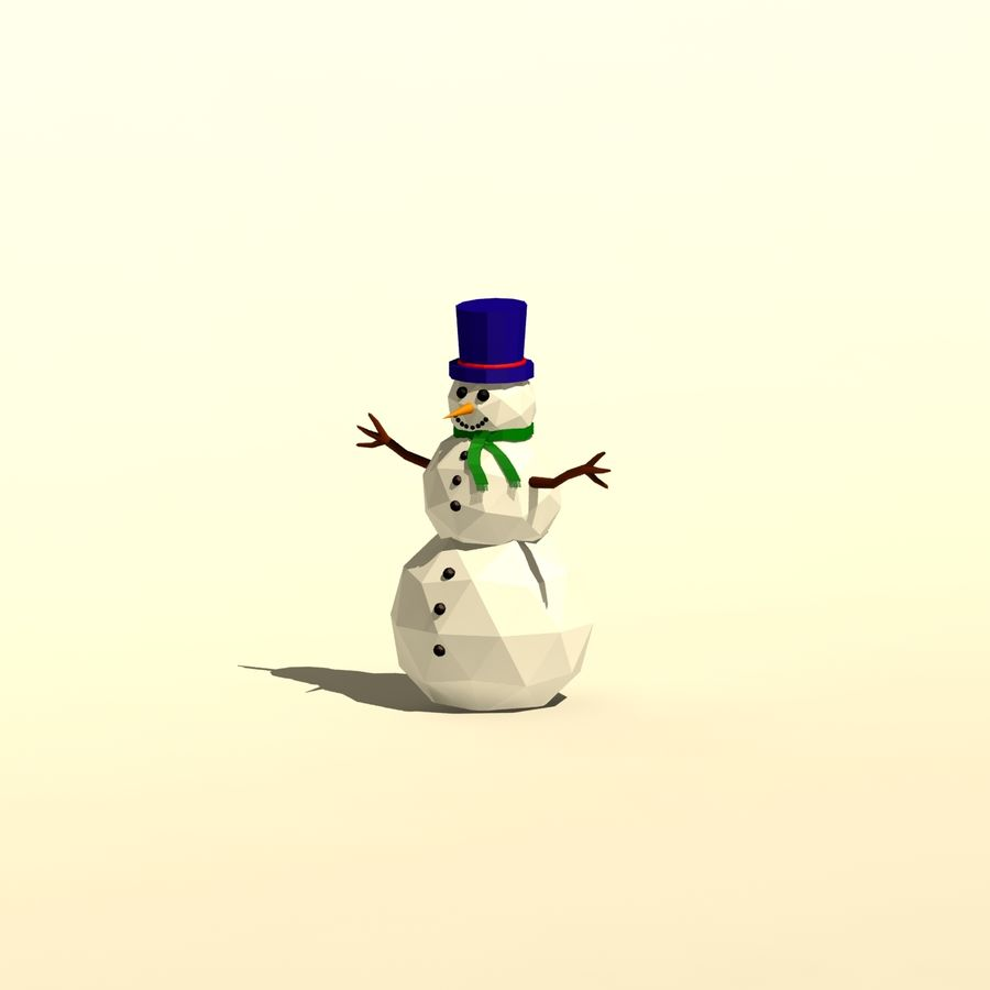 Cartoon low poly snowman royalty-free 3d model - Preview no. 7