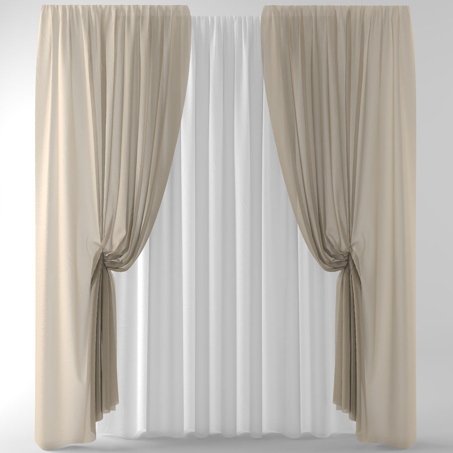 Curtains+tulle(blinds)373 royalty-free 3d model - Preview no. 2
