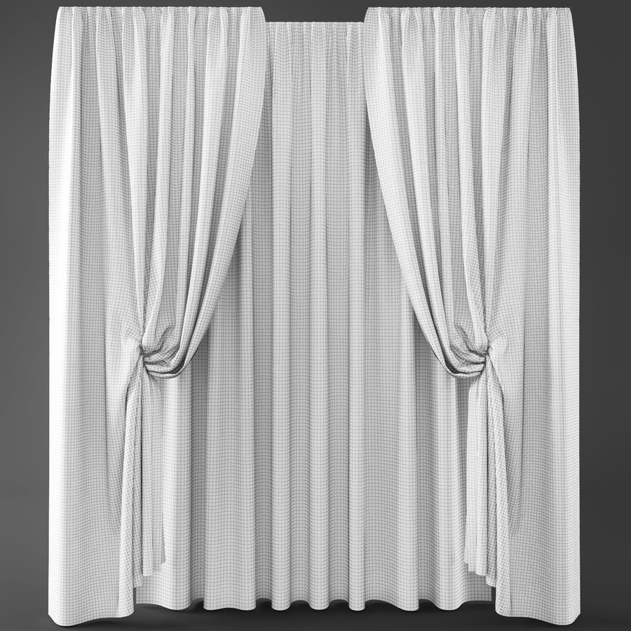 Curtains+tulle(blinds)373 royalty-free 3d model - Preview no. 3
