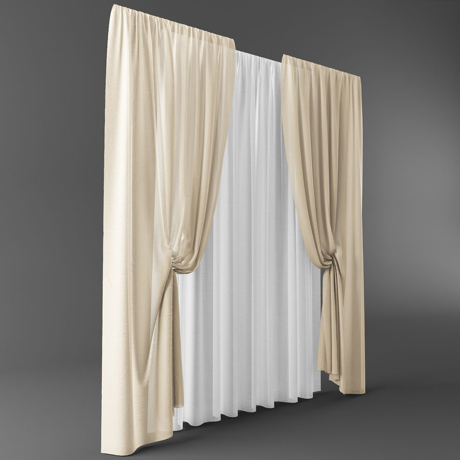 Curtains+tulle(blinds)373 royalty-free 3d model - Preview no. 5