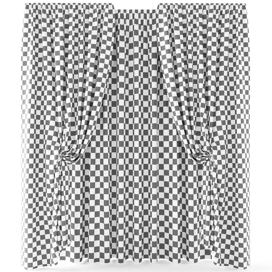 Curtains+tulle(blinds)373 royalty-free 3d model - Preview no. 4
