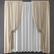 Curtains+tulle(blinds)373 3d model