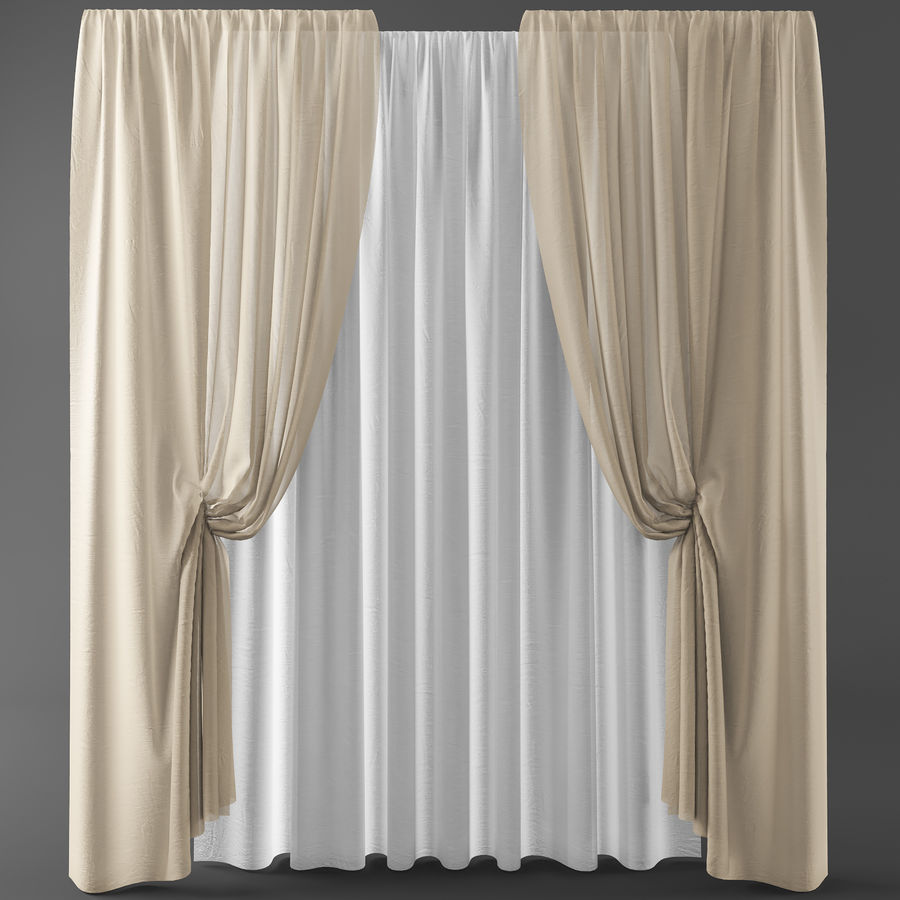 Curtains+tulle(blinds)373 royalty-free 3d model - Preview no. 1