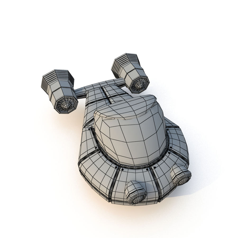 Cartoon Rocket Ship royalty-free 3d model - Preview no. 23