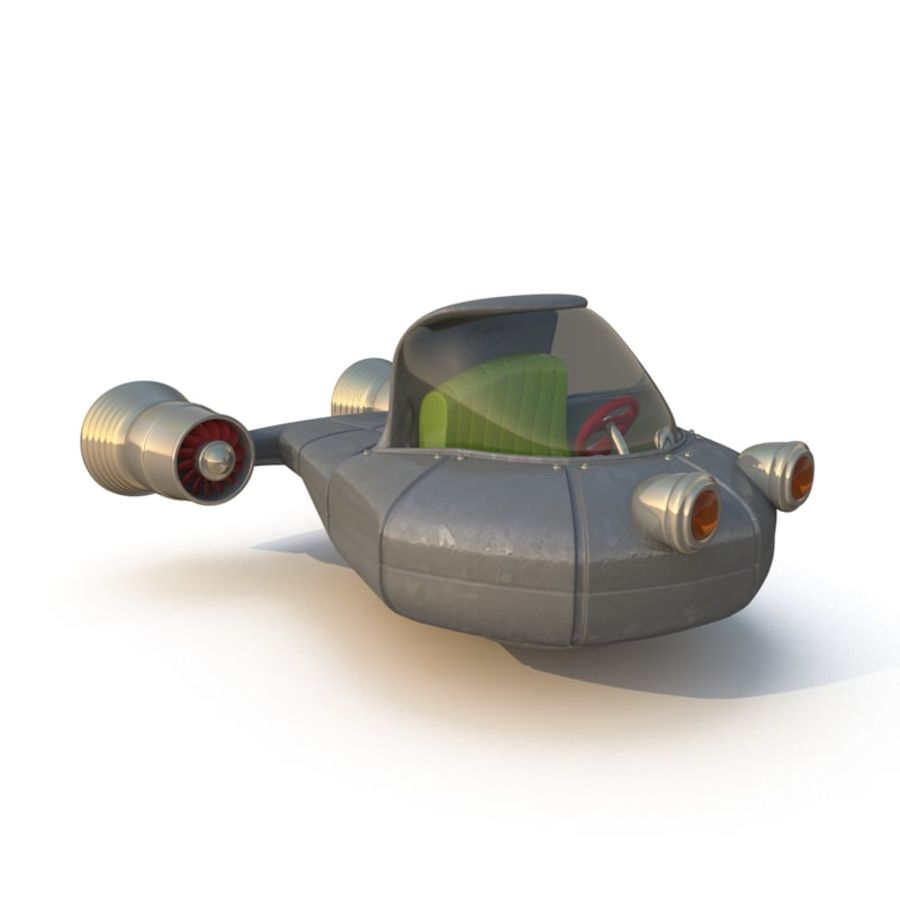 Cartoon Rocket Ship royalty-free 3d model - Preview no. 2