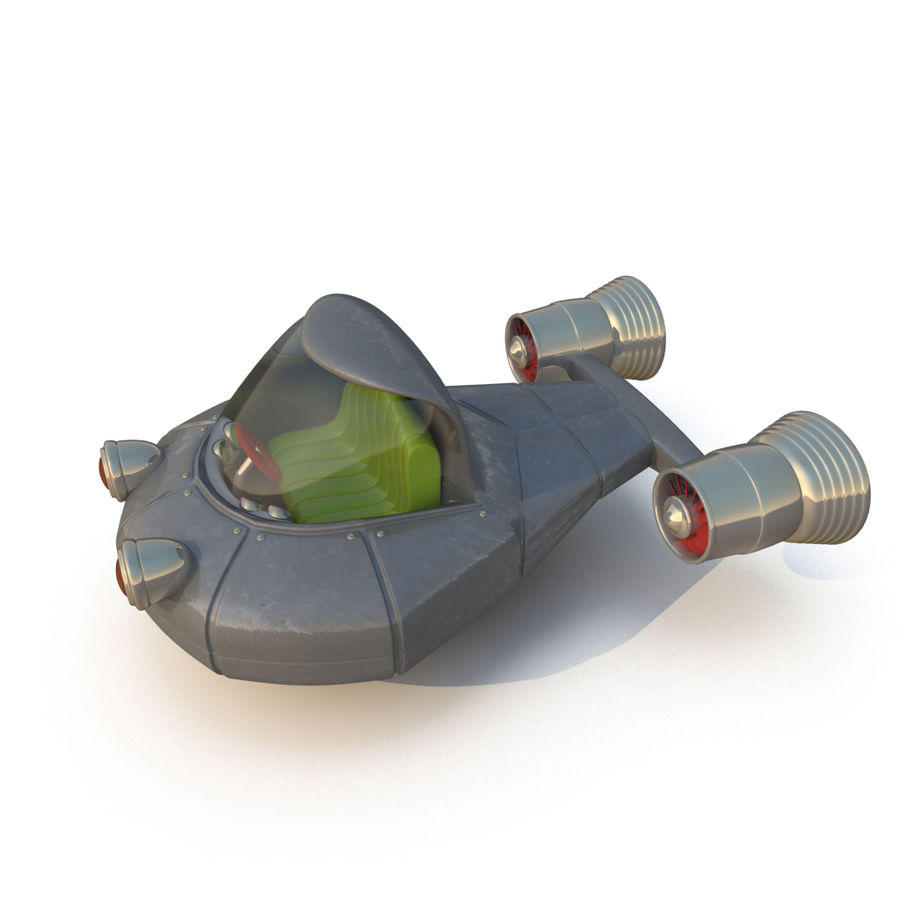 Cartoon Rocket Ship royalty-free 3d model - Preview no. 4
